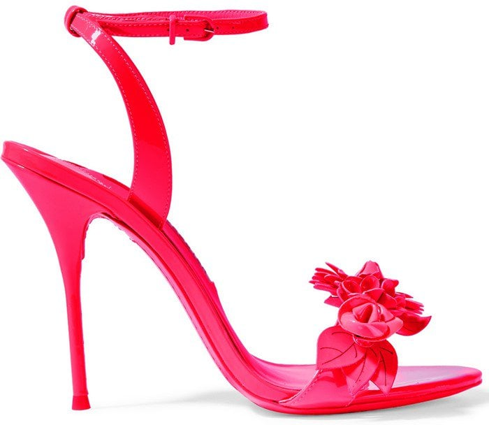 Sophia Webster Lilico appliqued patent-leather slingback sandals in bright pink