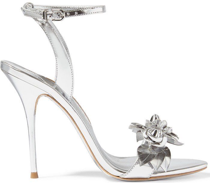 Sophia Webster Lilico appliqued patent-leather slingback sandals in silver
