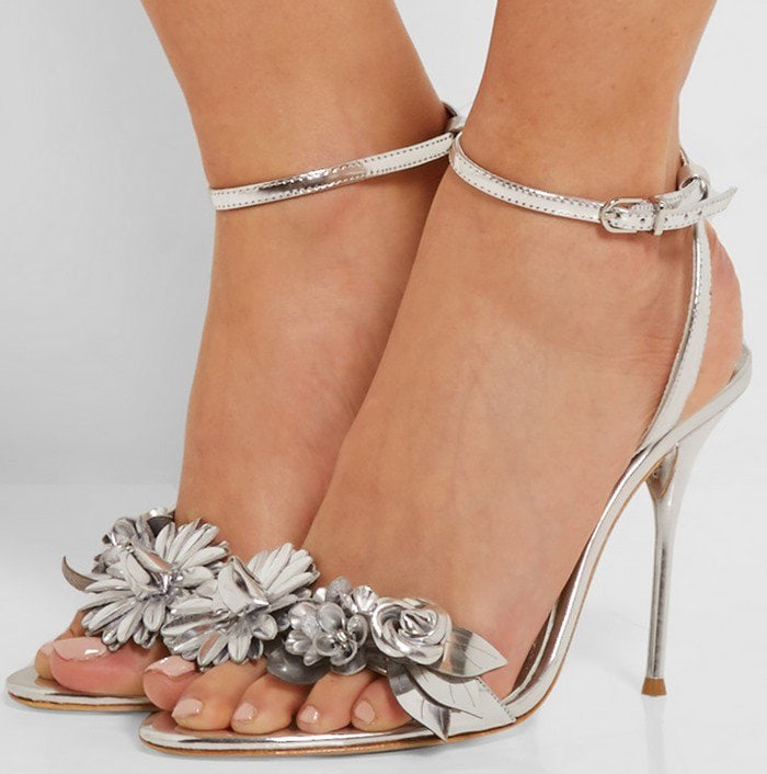 Sophia Webster Lilico appliqued patent-leather slingback sandals silver