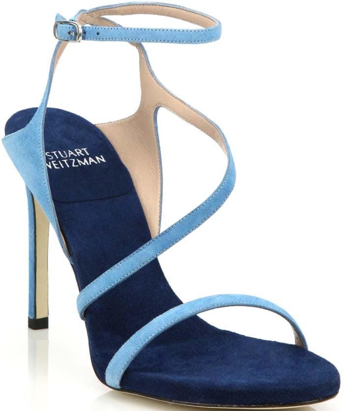 Stuart Weitzman Sultry Asymmetric Evening Sandals Blue