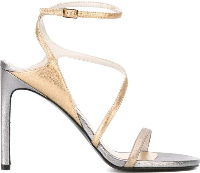 Stuart Weitzman Sultry Silver Gold Asymmetric Evening Sandals