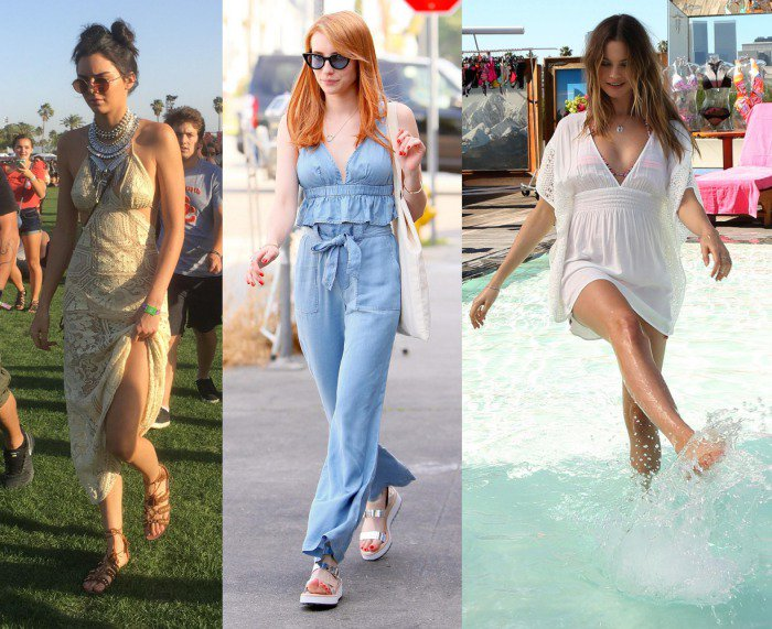 Kendall Jenner, Emma Roberts, and Behati Prinsloo showing off their hot summer feet