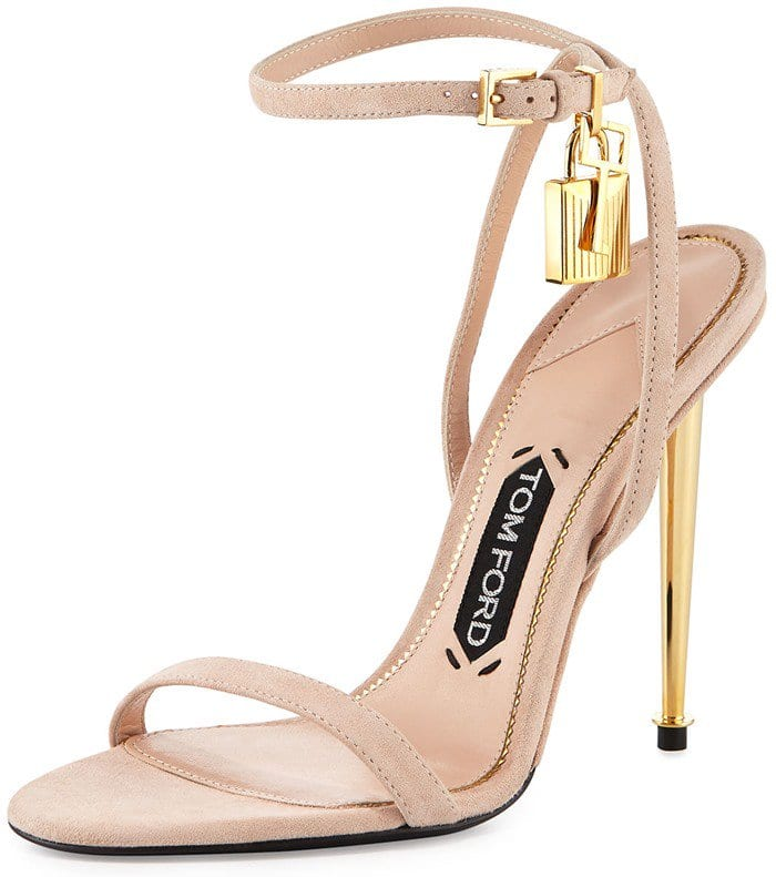 TOM FORD Lock Ankle-Wrap Suede 110mm Sandal