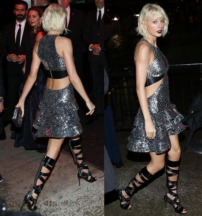 Taylor-Swift-Louis-Vuitton-silver-dress-cutaway-waist