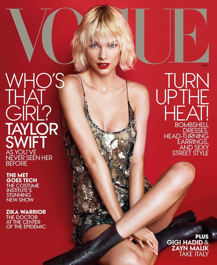 Taylor Swift on the cover of the May 2016 issue of US Vogue magazine