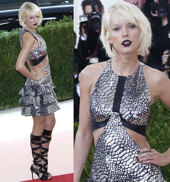 Taylor-Swift-platinum-blonde-hair-oxblood-lips-silver-dress
