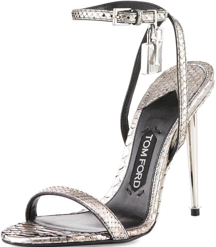 Tom Ford Lock Silver Python Sandals