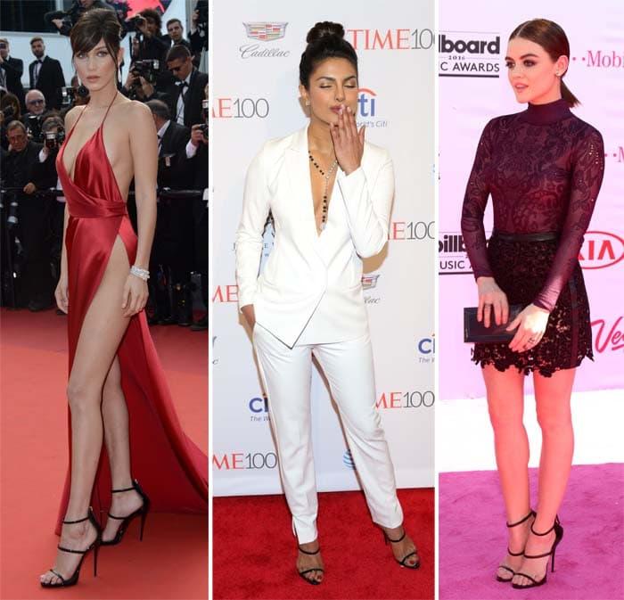 Bella Hadid, Priyanka Chopra and Lucy Hale in Giuseppe Zanotti's Harmony sandals