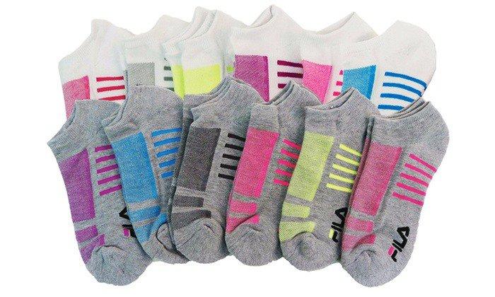 FILA Moisture-Reducing No-Show Athletic Socks