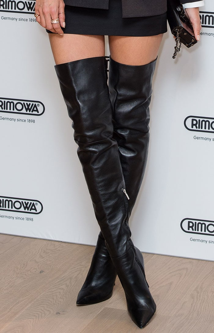 Alessandra Ambrosio picked a pair of Gianvito Rossi over-the-knee boots to draw more attention to her legs