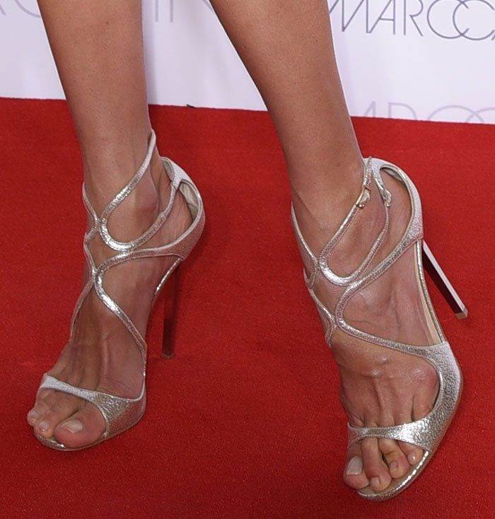 Alessandra Ambrosio put her sexy toes on display in Jimmy Choo heels