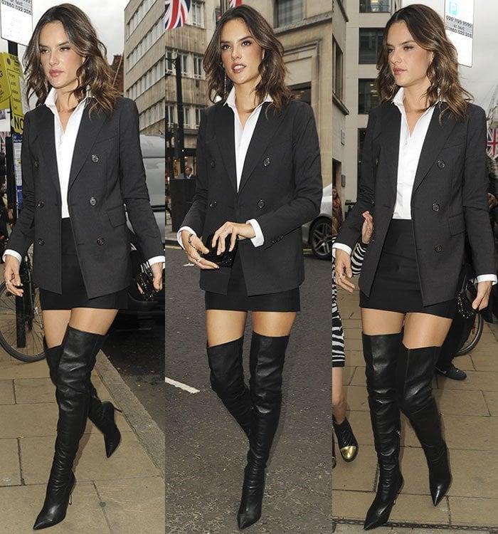 Alessandra Ambrosio in DSQuared2 blazer and mini skirt