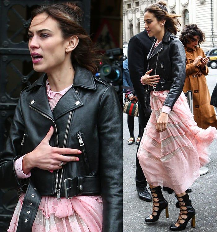 Alexa-Chung-Gucci-floaty-pink-dress-biker-jacket