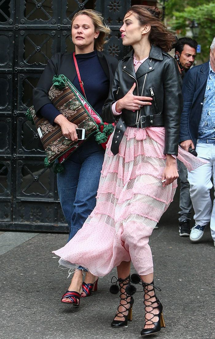 Alexa-Chung-pink-midi-dress-leather-biker-jacket