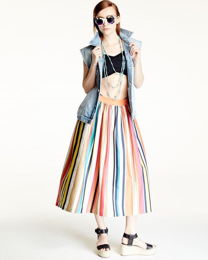 Alice Olivia Nikola Striped High-Waist Midi Skirt