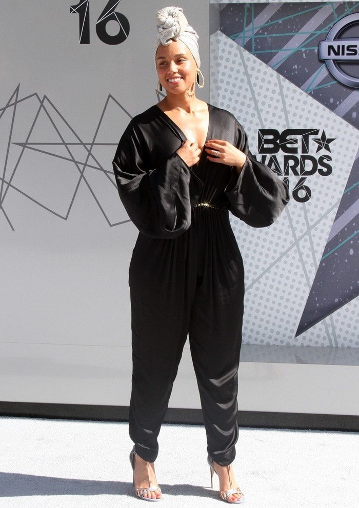Alicia Keys wearing a Stella McCartney 'Morgane Aio' embellished satin jumpsuit at the 2016 BET Awards held at the Microsoft Theater in Los Angeles on June 26, 2016