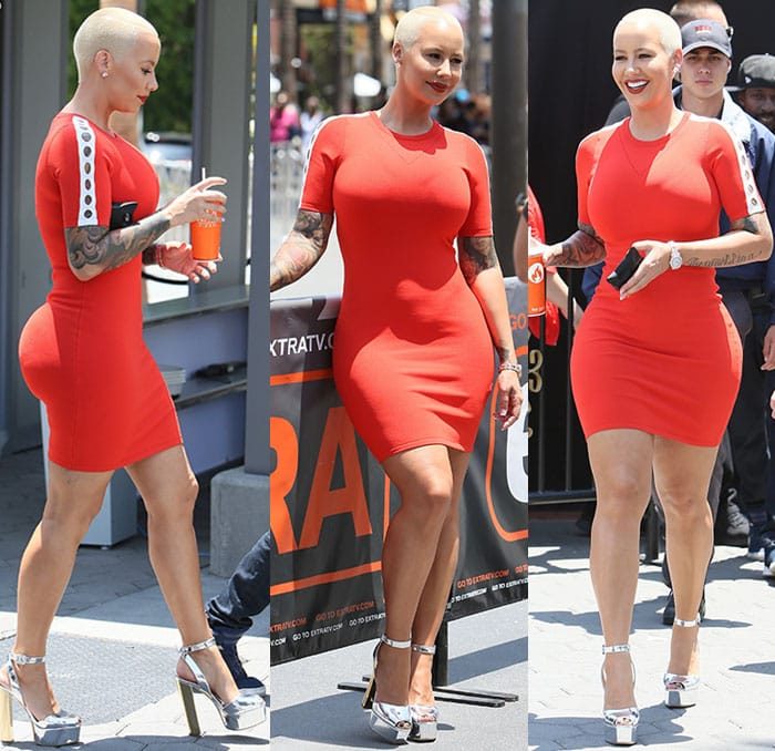 Amber Rose flaunted her curves in a red bodycon dress