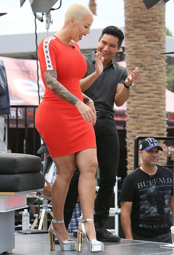 0fa86d3715dc Amber Rose Promotes New Talk Show in Towering Lavinia Sandals