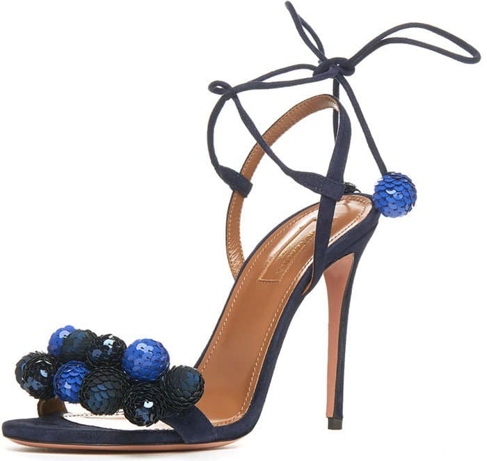 Aquazzura Disco Thing Sequin-Embellished Sandal Navy Suede
