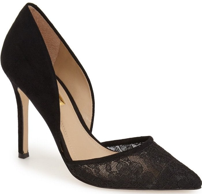 Sheer floral lace at the pointed toe adds to the romance of a dramatic d'Orsay pump lifted by a slender setback heel
