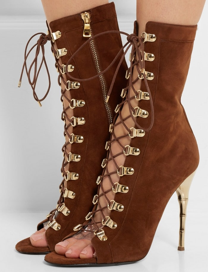 Balmain Lace-up suede sandals chocolate