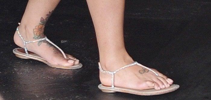 Blac Chyna's feet in crystal-encrusted sandals by René Caovilla