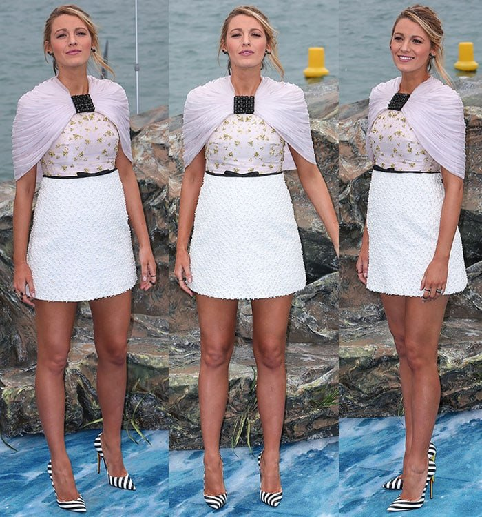 Blake paired the patent leather pumps with a Giambattista Valli dress