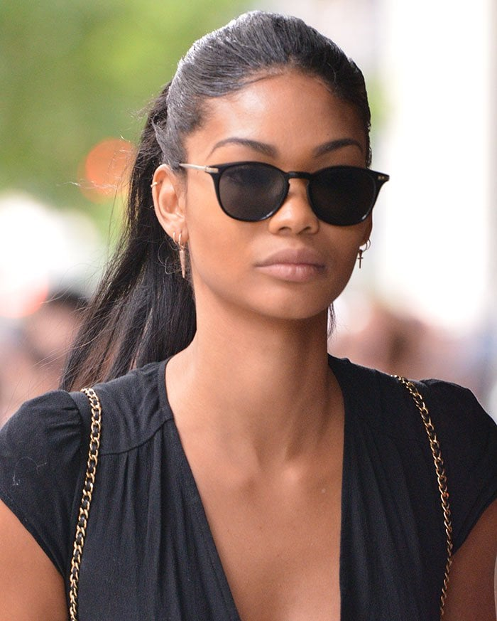 a752edccd1b Chanel Iman Parades Legs in Lace-Up Gladiator Sandals