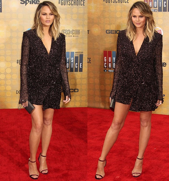 Chrissy Teigen in a beaded metallic blazer dress from Dion Lee's Fall 2016 collection