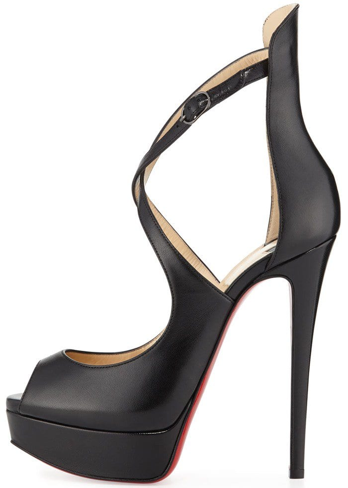 "Christian Louboutin ""Marlenalta"" Crisscross-Strap Peep-Toe Platform Pumps in Black Leather"