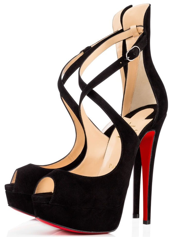 Christian Louboutin Marlenalta Crisscross-Strap Peep-Toe Platform Pumps in Black Suede