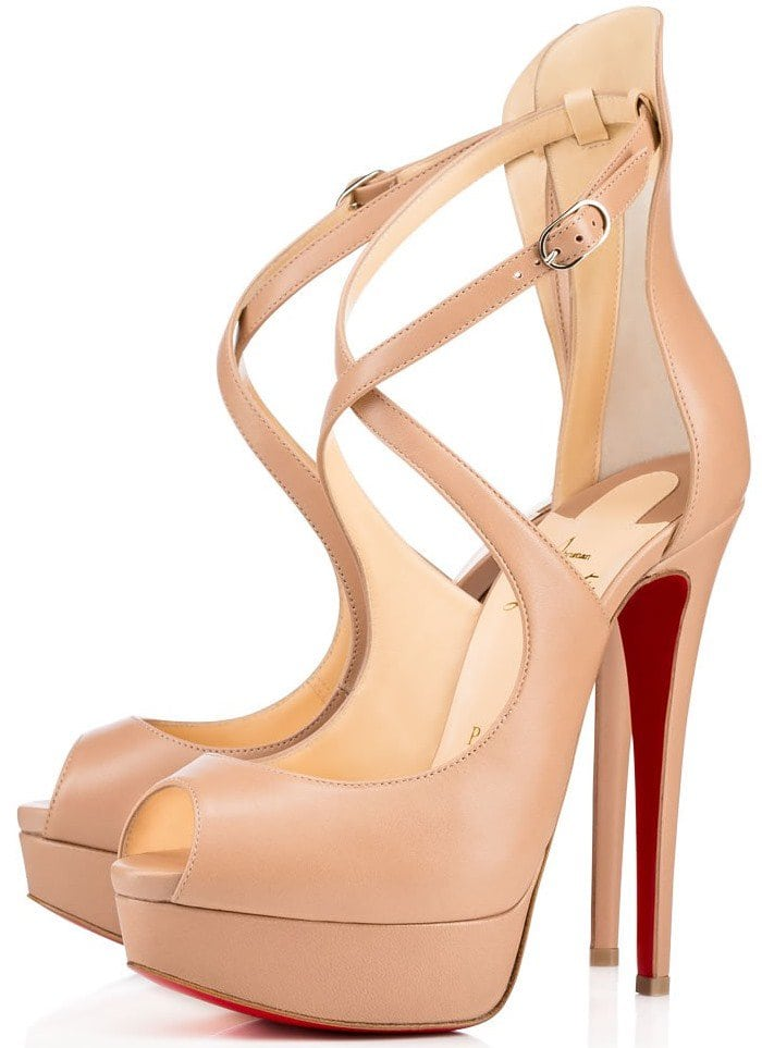 "Christian Louboutin ""Marlenalta"" Crisscross-Strap Peep-Toe Platform Pumps in Nude Leather"