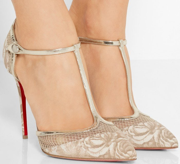 Christian Louboutin Mrs Early 100 printed faille, leather and mesh pump
