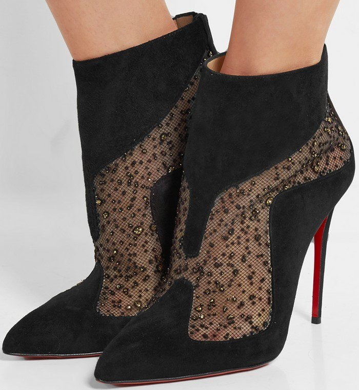 the best attitude 05486 d7a1d Christian Louboutin 'Papilloboot' Mesh and Suede Boots