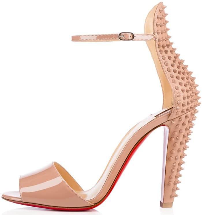 Christian Louboutin Tropanita 100 studded patent-leather sandal nude