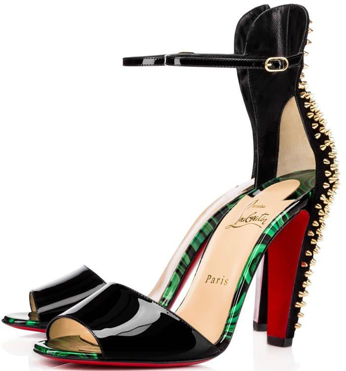 433533a73d0b ... where to buy christian louboutin tropanita 100 studded patent leather  sandal 7613d 32bee