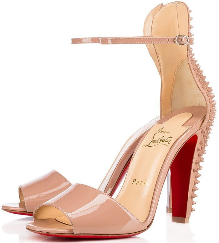 Christian Louboutin Tropanita 100 studded patent-leather sandals nude