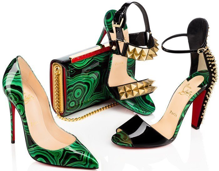 Tropanita sandals pictured with other Pre-Fall 2016 styles, including the 'So Kate' pumps in green marble