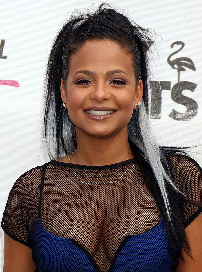 Christina-Milian-black-white-hair-neutral-makeup
