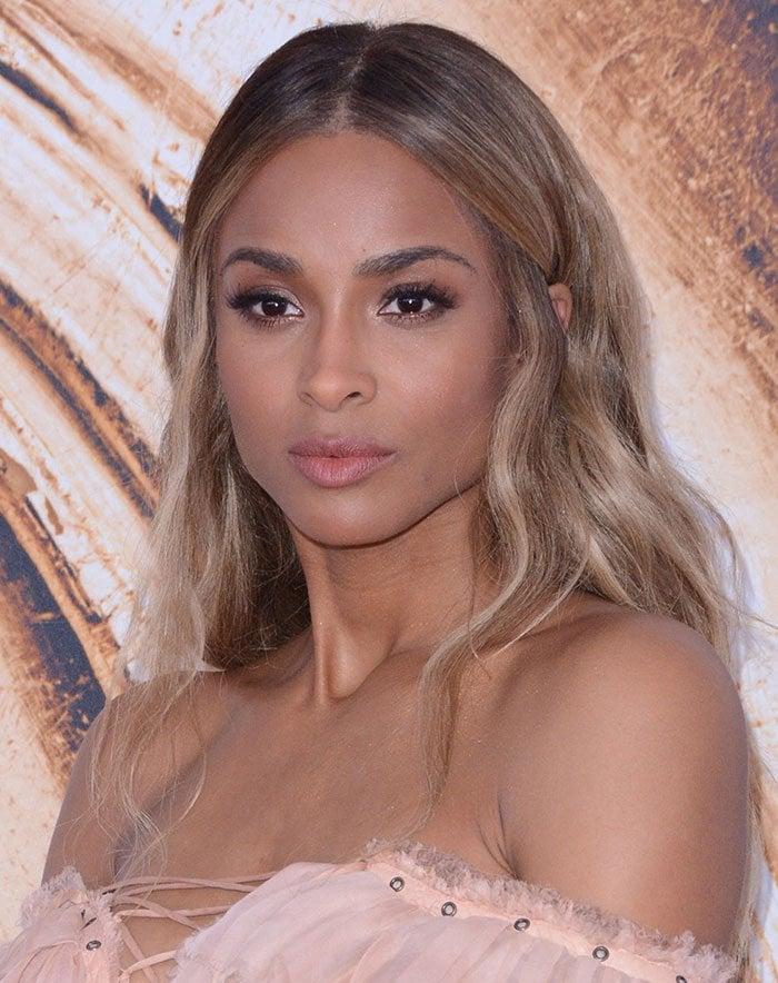 Ciara-loose-waves-neutral-makeup