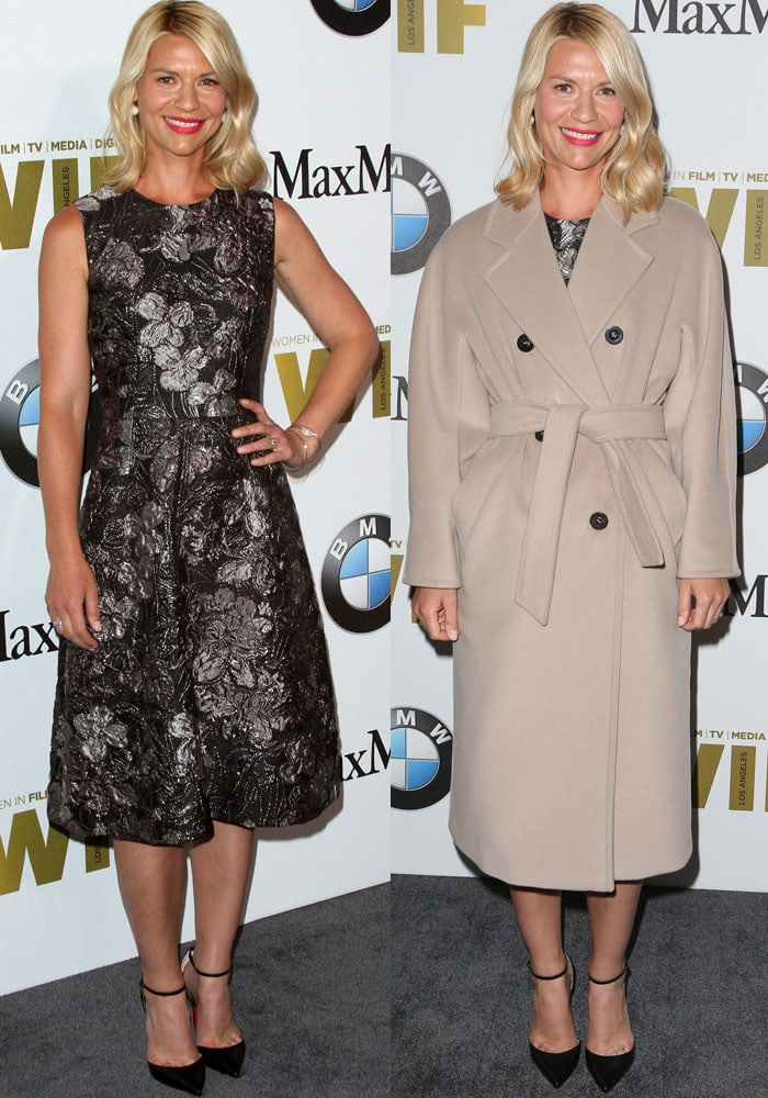 Now you see it, now you don't: Claire poses on the red carpet in a coat before taking it off
