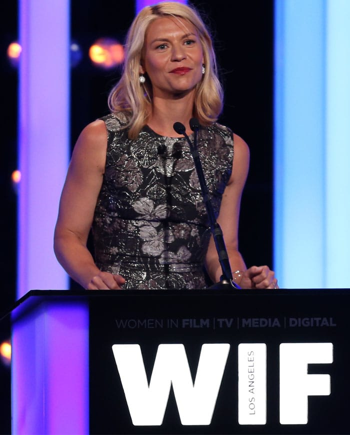 Claire Danes in a silver floral brocade dress by Dolce & Gabbana