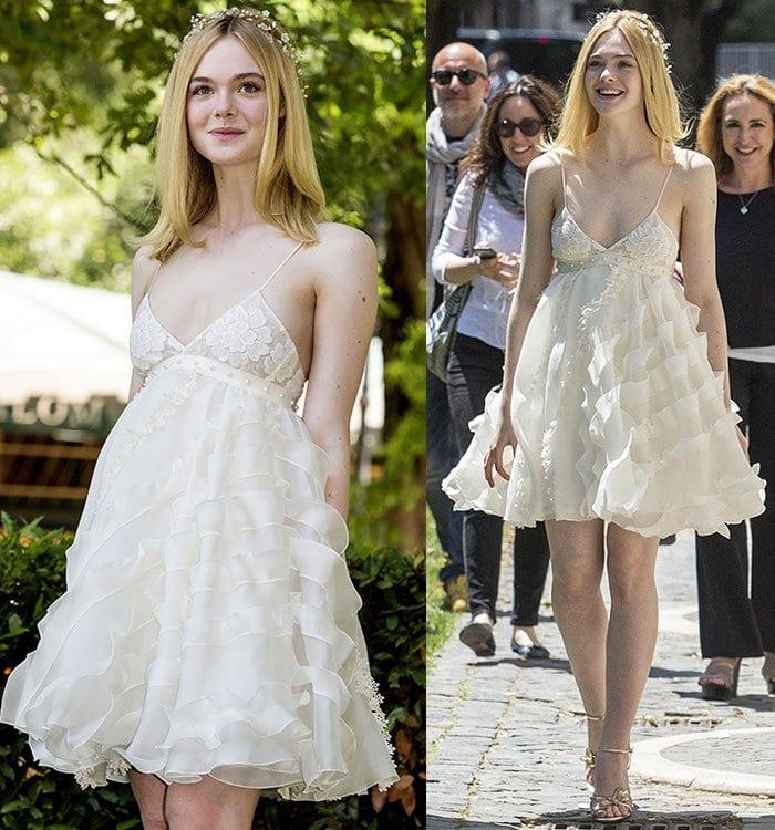 Elle-Fanning-Giamba-white-ruffle-dress