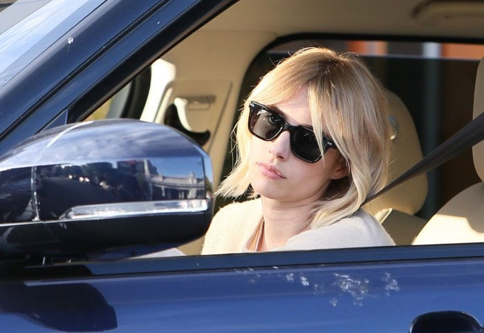 Emma Roberts with a new blonde hair color