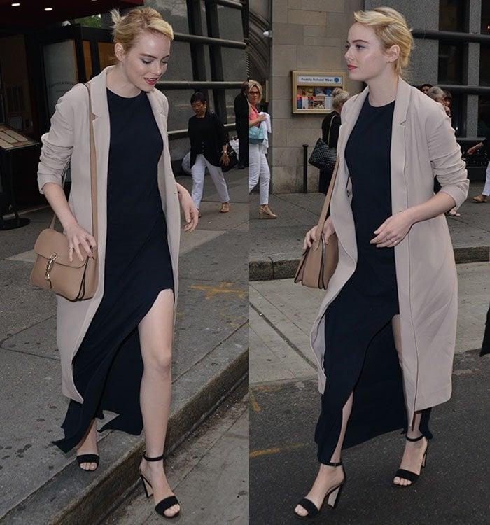 Emma-Stone-navy-dress-thigh-slit-trench-coat