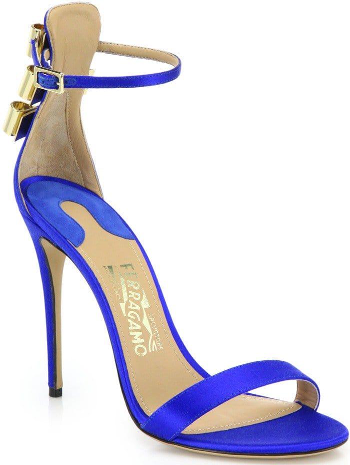 Ferragamo Blue By Edgardo Osorio Angie Bow-back Satin Sandals