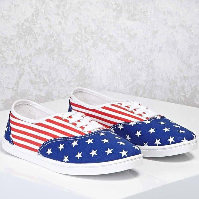 Forever 21 White American Flag Print Sneakers