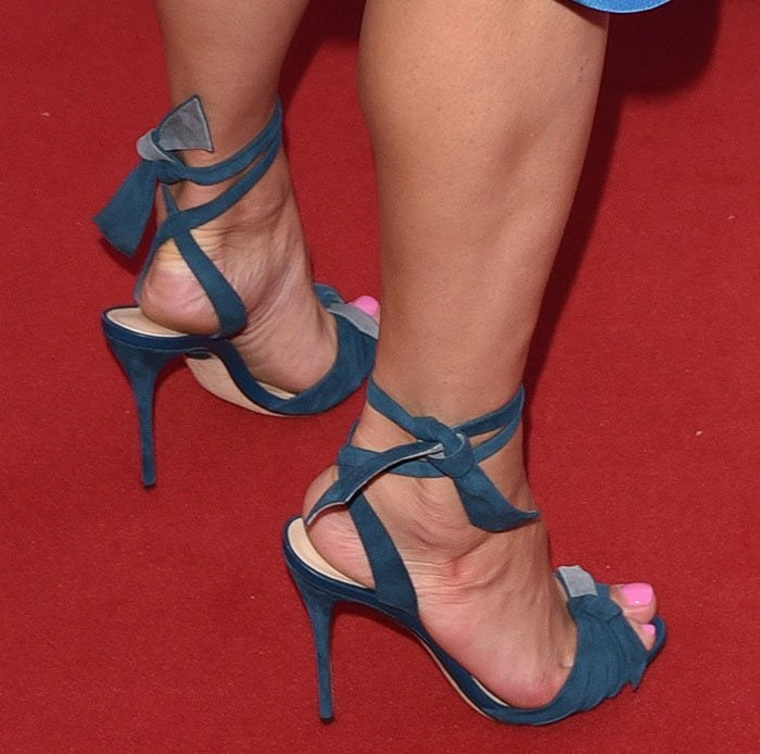 Gemma Arterton in blue suede Alexandre Birman sandals