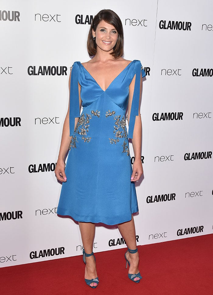 Gemma Arterton looked sexy but elegant in a blue Prada dress