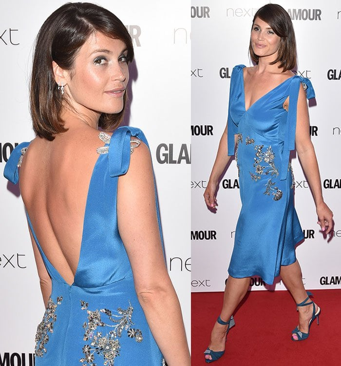 Gemma Arterton wearing a blue Prada dress at the Glamour Women of the Year Awards held on Berkeley Square in London on June 6, 2017
